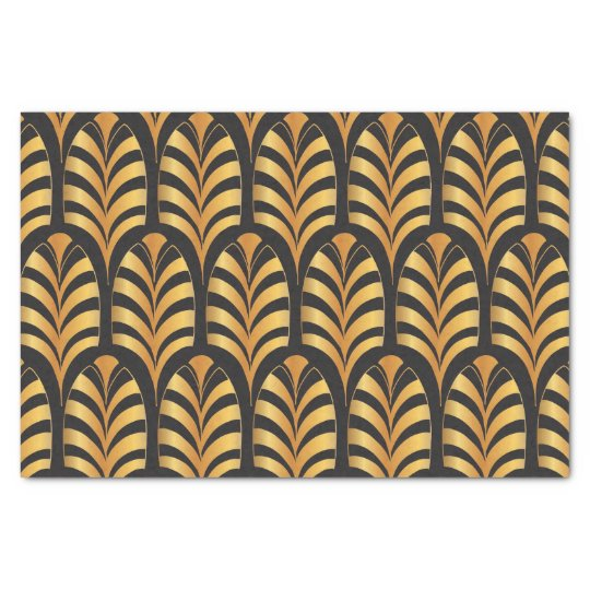 Art Deco Palms black and gold feather Tissue