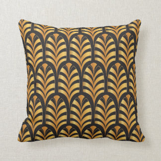 Art Deco Palms black & gold Cushion
