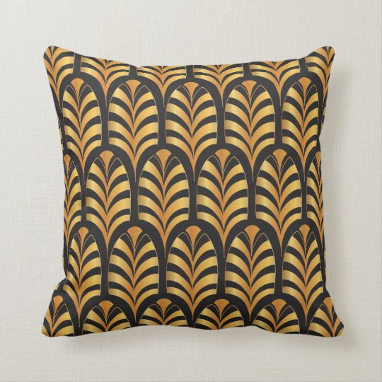 Art Deco Palms black & gold Throw Pillow