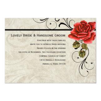 Art Deco Parchment Red Rose Wedding Invitation