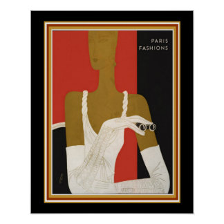 Art Deco Paris Fashions Print  Ca. 1931