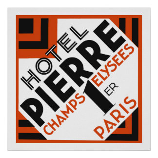 Art Deco Paris French hotel label remake Poster