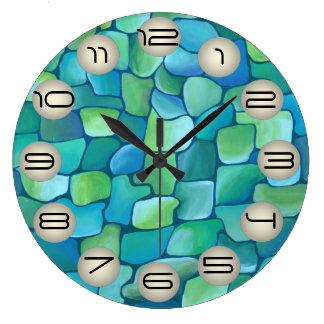 Art Deco Pattern - Aqua with Pearl Circles Wallclock