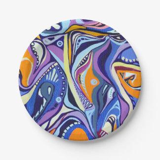 Art Deco pattern - blue and orange Paper Plate