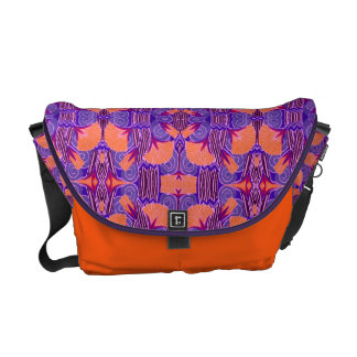Art Deco Pattern - Bold Purple and Orange Courier Bags