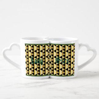 Art deco,pattern,gold,black,elegant,chic,vintage, lovers mug