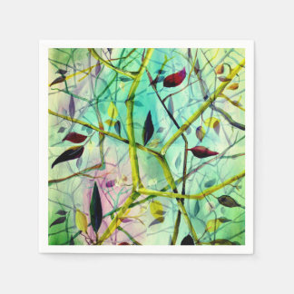 Art Deco pattern - green abstract tiles Disposable Napkin