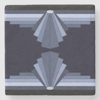 Art Deco Pattern in Blue-Grey & black background Stone Coaster