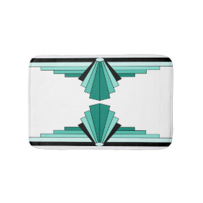 Art Deco Pattern in Greens Bath Mat