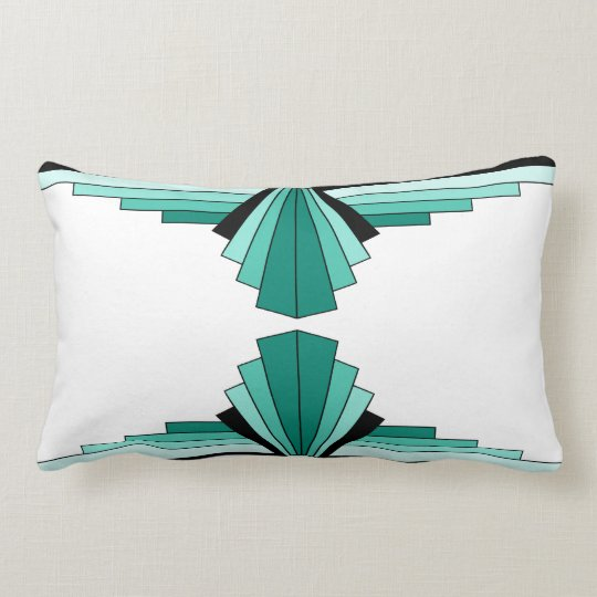 Art Deco Pattern in Greens Lumbar Pillow