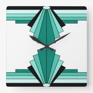 Art Deco Pattern in Greens Square Wall Clock