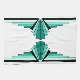 Art Deco Pattern in Greens Tea Towel
