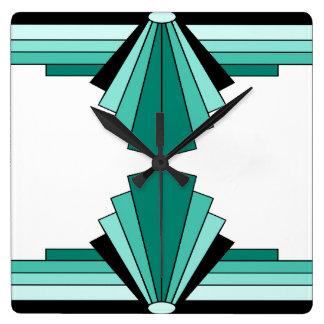 Art Deco Pattern in Greens Wall Clocks