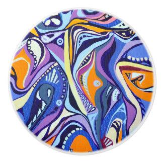 Art Deco pattern - orange and blue Ceramic Knob