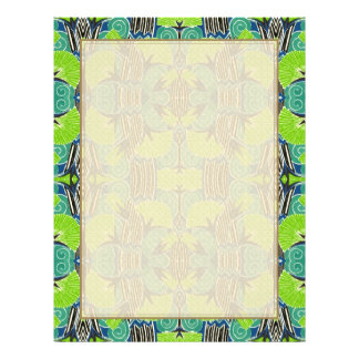 Art Deco Pattern - Tropical Greens and Blues 21.5 Cm X 28 Cm Flyer