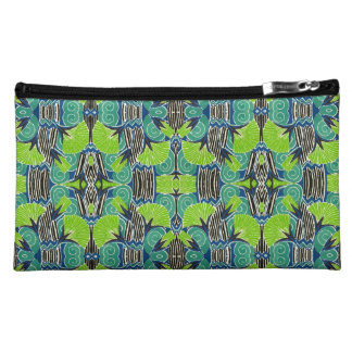 Art Deco Pattern - Tropical Greens and Blues Makeup Bags