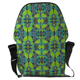 Art Deco Pattern - Tropical Greens and Blues Messenger Bags