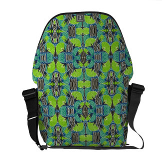 Art Deco Pattern - Tropical Greens and Blues Messenger Bag