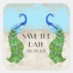 Art Deco Peacock Aqua Blue Save the Date Seal Square Sticker