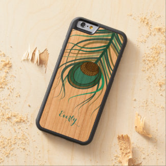 Art Deco Peacock feather Carved Cherry iPhone 6 Bumper Case