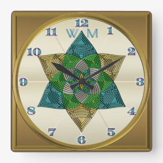 Art Deco Peacock Feather Inspired Mandala Monogram Clock