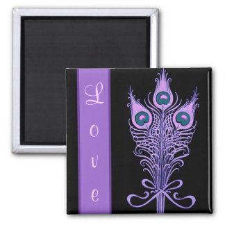 Art Deco Peacock Feathers Wedding Theme Square Magnet