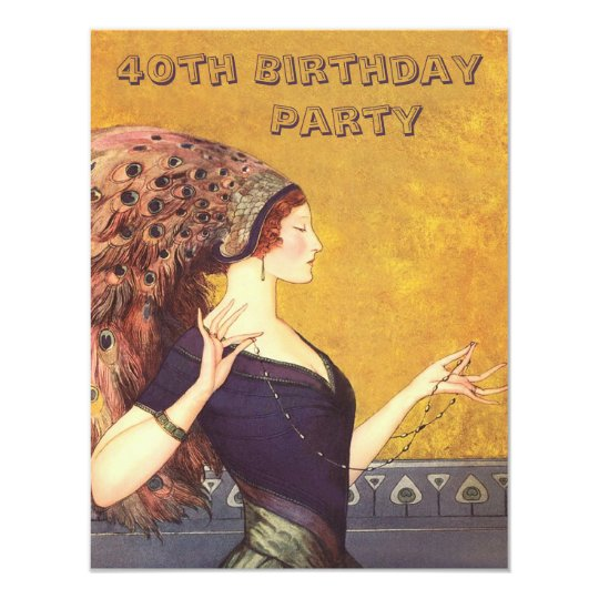 Art Deco Peacock Flapper 40th Birthday Party Card