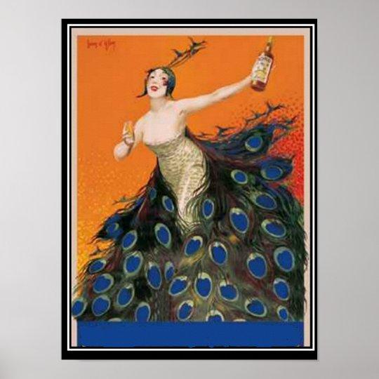 Art Deco peacock Girl Vintage Poster