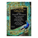 Art Deco Peacock Glam Old Hollywood Birthday Party 13 Cm X 18 Cm Invitation Card