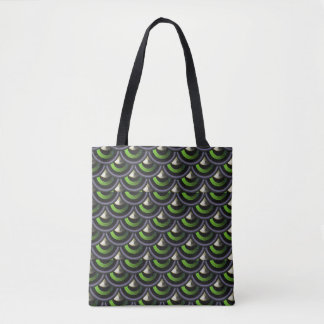 Art Deco Peacock Mermaid Skin Japanese Wave Tote Bag