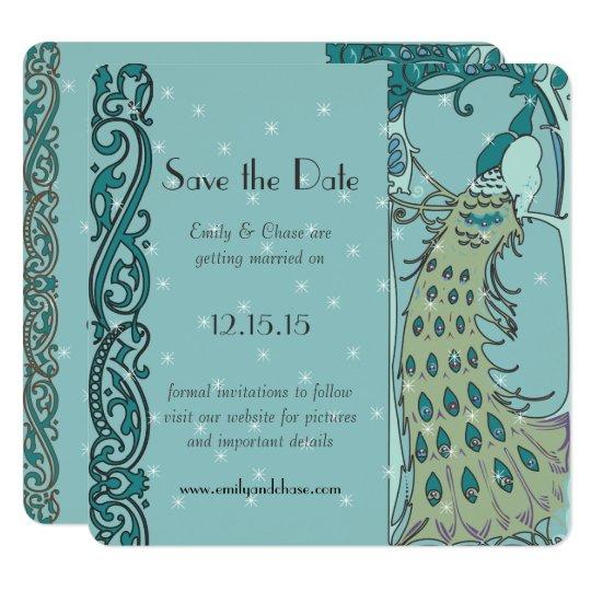 Art Deco Peacock Save the Date Invitations