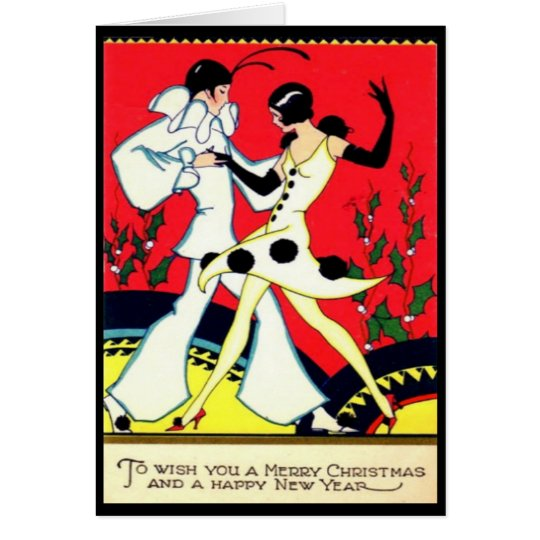 Art Deco Pierrot & Pierette Vintage Christmas Card