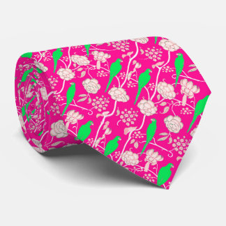 ART DECO PINK WHITE FLOWERS WITH GREEN PARROTS TIE