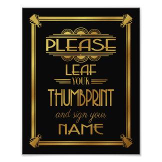 Art deco Please Leaf your thumbprint black Photographic Print