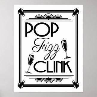 Art Deco POP FIZZ CLINK  colour change B/G Poster