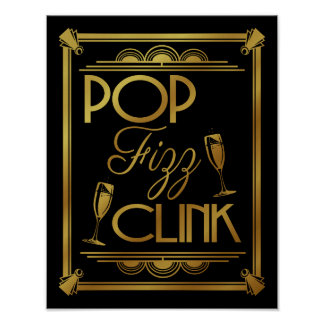 Art Deco POP FIZZ CLINK GOLD colour change B/G Poster