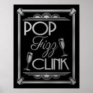 Art Deco POP FIZZ CLINK SILVER colour change B/G Poster
