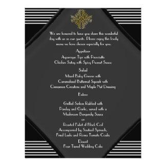 Art Deco Posh Wedding Menu 21.5 Cm X 28 Cm Flyer