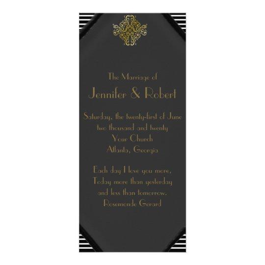 Art Deco Posh Wedding Program Rack Card
