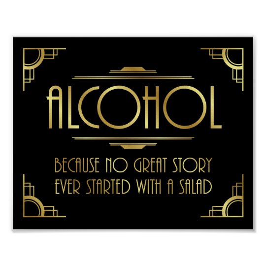 Art Deco Print GATSBY ALCOHOL Quote Sign