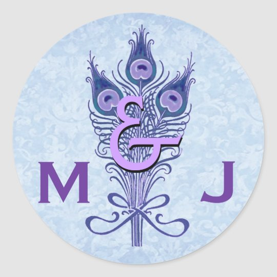 Art Deco Purple Peacock Feathers Monogram Wedding Classic