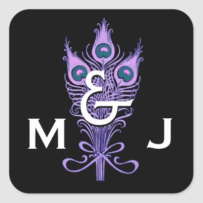 Art Deco Purple Peacock Feathers Monogram Wedding Stickers by JaclinArt