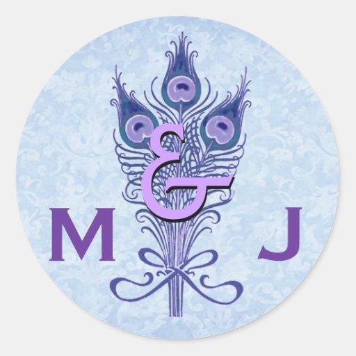 Art Deco Purple Peacock Feathers Monogram Wedding Round Stickers