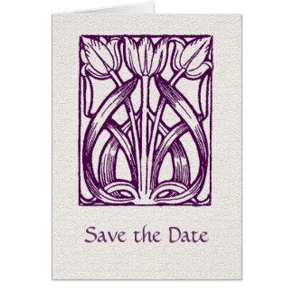 Art Deco Purple Tulips Save the Date Card