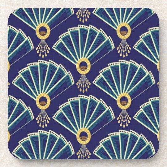Art Deco Purple/Turquoise Fan Design Coaster Set