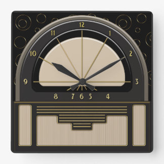 Art Deco Radiola (Sand, Dark Gray, Black, Gold) Square Wall Clock