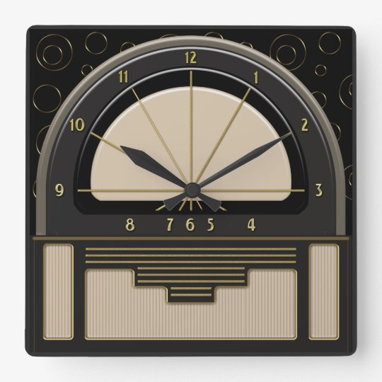 Art Deco Radiola (Sand, Dark Grey, Black, Gold) Square Wall Clock