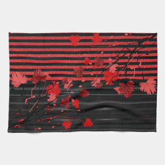 Art Deco Red and Black Floral Kitchen Towel