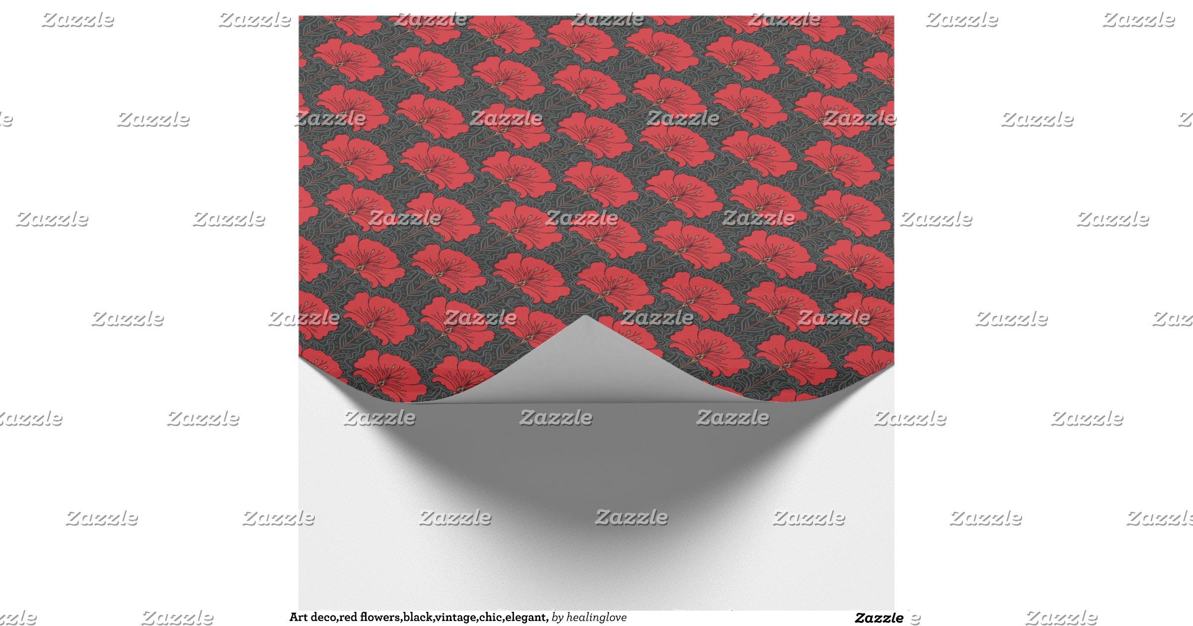 Art deco red flowers black vintage chic elegant wrapping - Deco vintage chic ...