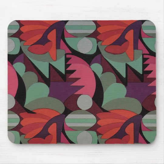 Art Deco Red Pattern - Mousepad